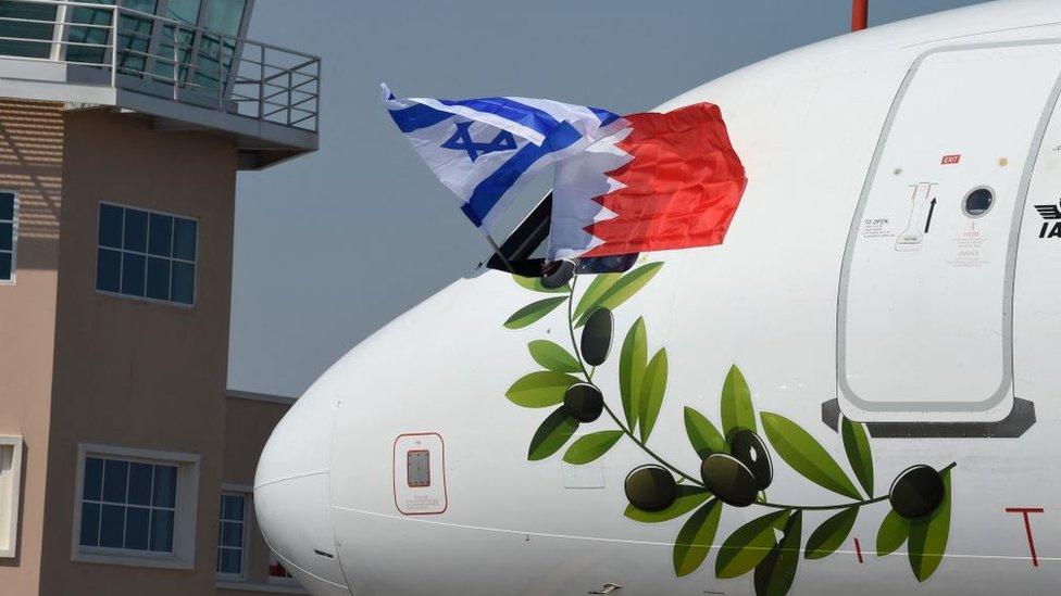 İsrailli Bakanı taşıyan uçakta iki ülkenin bayrakları ve zeytin dalı motifi görünüyor.