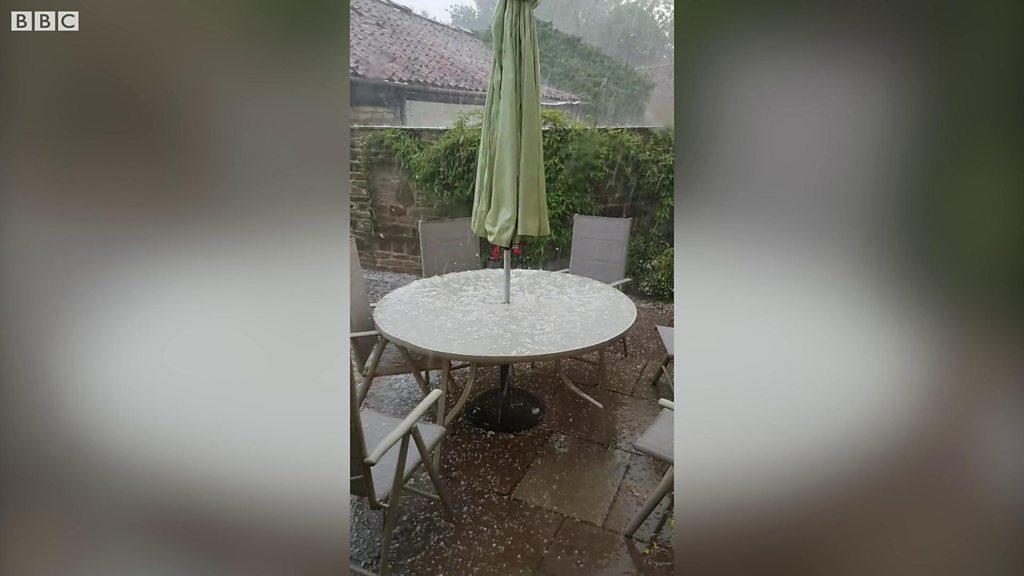 Hailstorm breaks summer heatwave in North Yorkshire