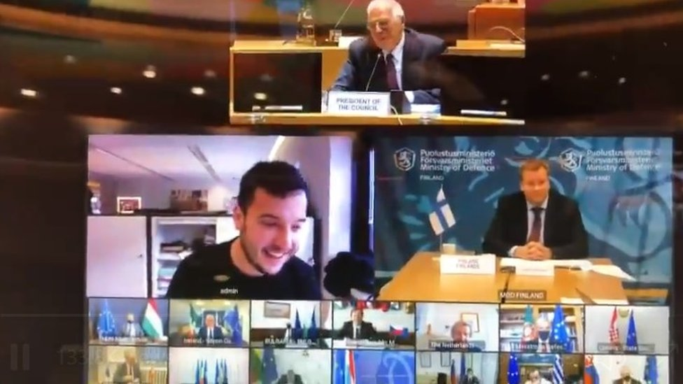 Dutch journalist gatecrashes confidential European Union  defence video conference