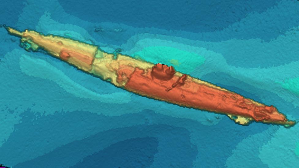 Sonar image of German U-boat