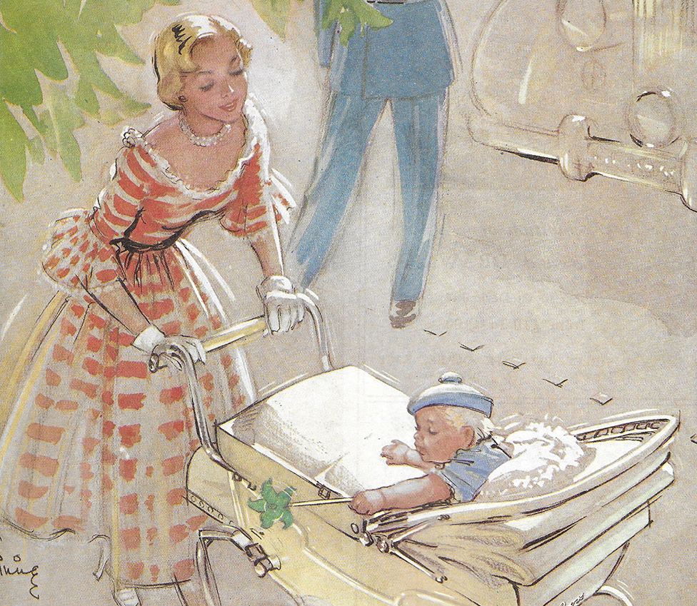 Un aviso mostrando una mamá en un vestido llevando de paseo a su bebé