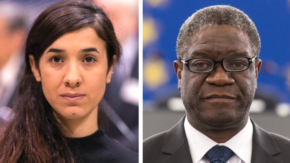 The Nobel Prize for Peace 2018 winners: Yazidi survivor Nadia Mural (L) and Denis Mukwege