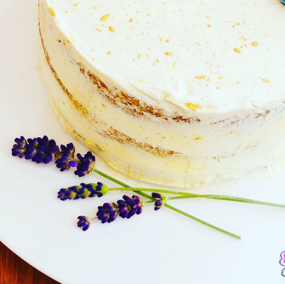 A cake and lavender
