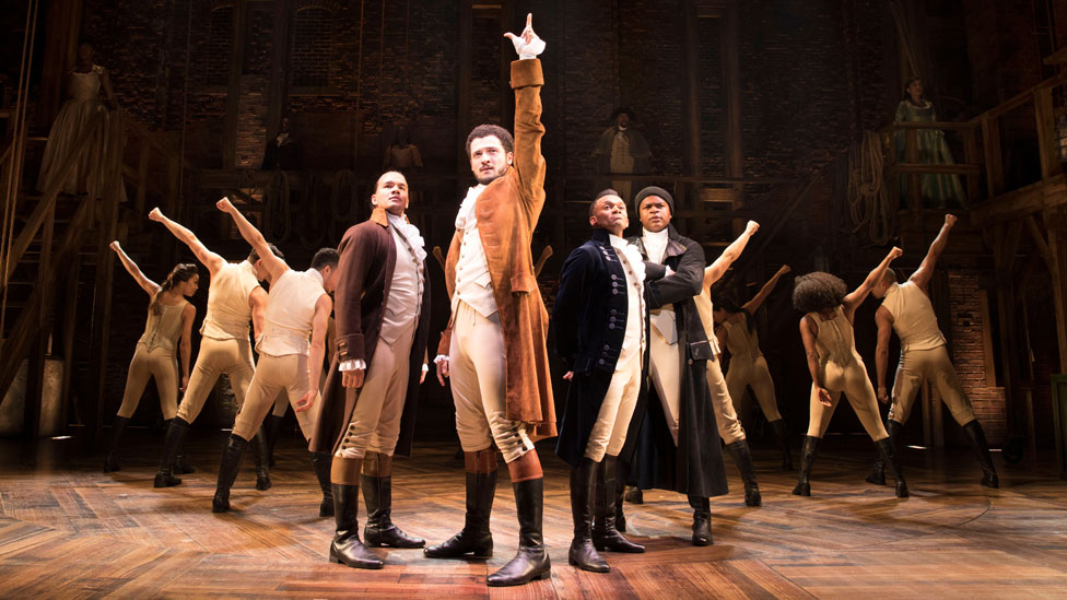 Jamael Westman with members of the Hamilton cast