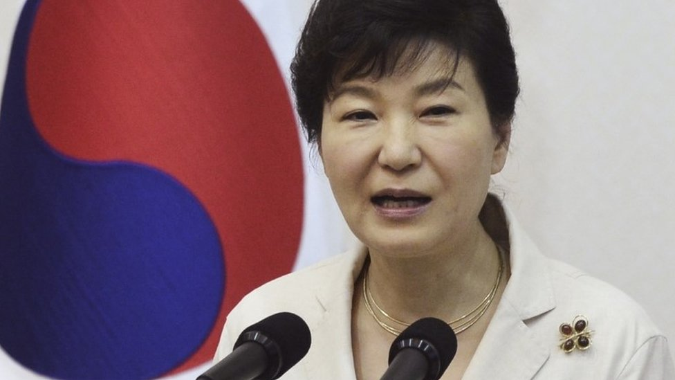 South Korean President Park Geun-hye speaks during a luncheon meeting with members of charity groups at presidential house in Seoul, South Korea, Thursday, Aug. 20, 2015