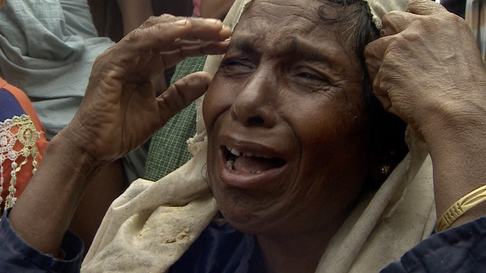 Rohingya woman crying