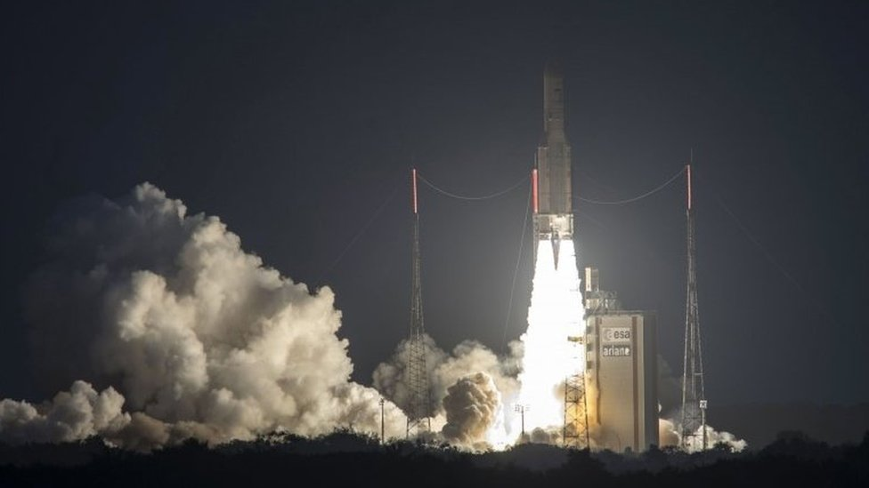 A handout photo released on 14 February 2017 shows the liftoff of flight VA235, Ariane 5 ECA, from the Spaceport in Kourou, French Guiana, France, 14 February 2017
