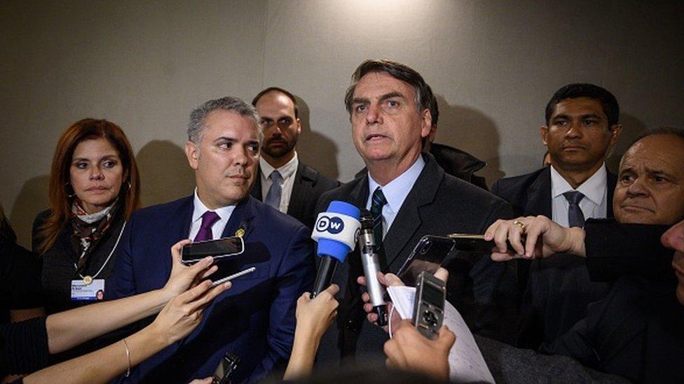 Iván Duque, presidente de Colombia, y Jair Bolsonaro, presidente de Brasil,