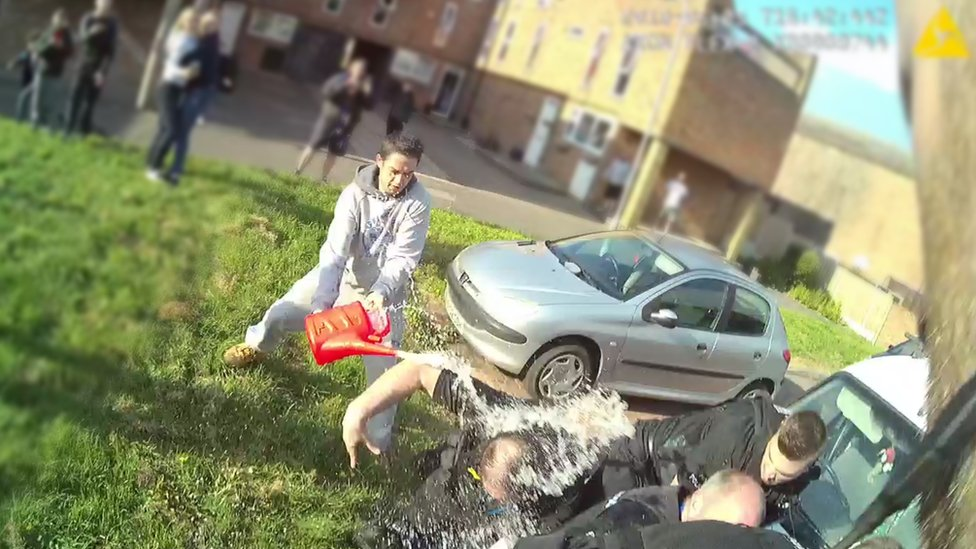 Essex Police officers doused in petrol