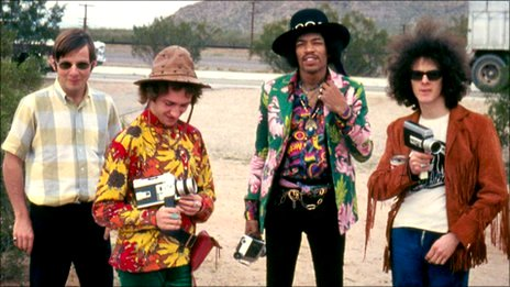 Roger Mayer (left) with Jimi Hendrix (second right) and two others