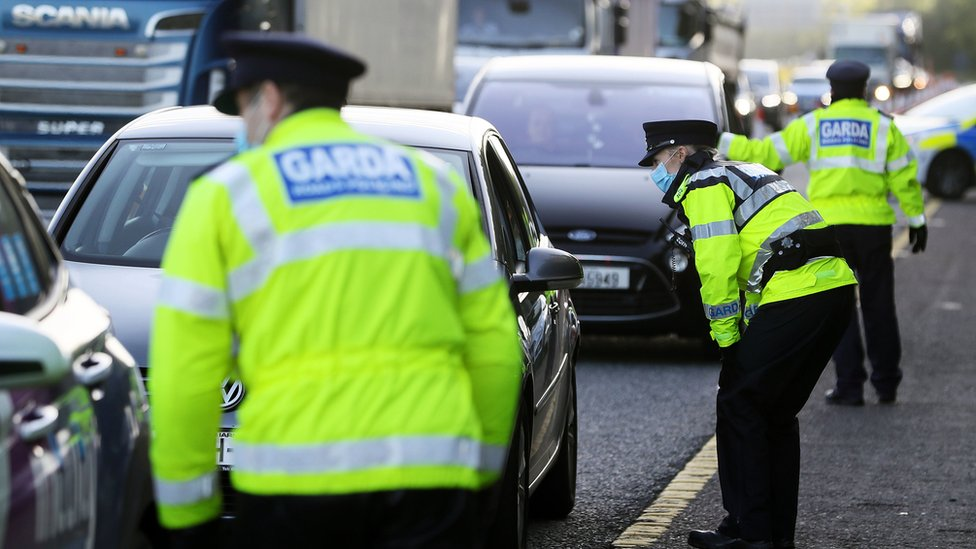 Garda checkpoints were set up when level three restrictions were imposed in early October