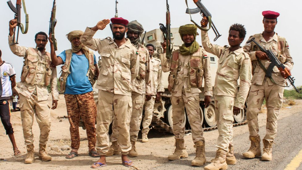Sudanese soldiers fighting alongside Yemen's Saudi-backed pro-government forces against the Houthi rebels on 22 June 2018