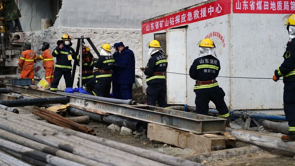 Rescuers work at the explosion site of a gold mine on January 20, 2021 in Qixia, Shandong