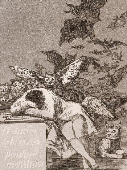 """Grabado """"El sueño de la razón produce monstruos"""""""