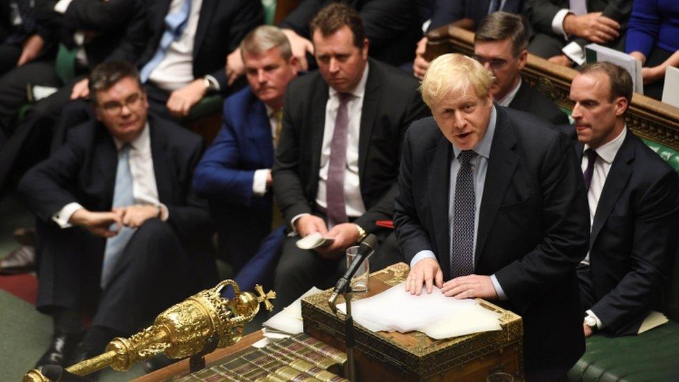 UK PM Boris Johnson in parliament, 19 October 2019