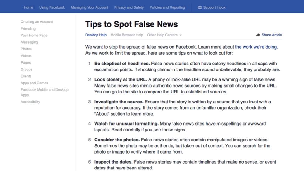 Facebook's tips to spot false news