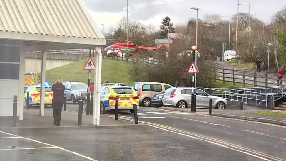 Sainsbury's in Pontllanfraith following the incident