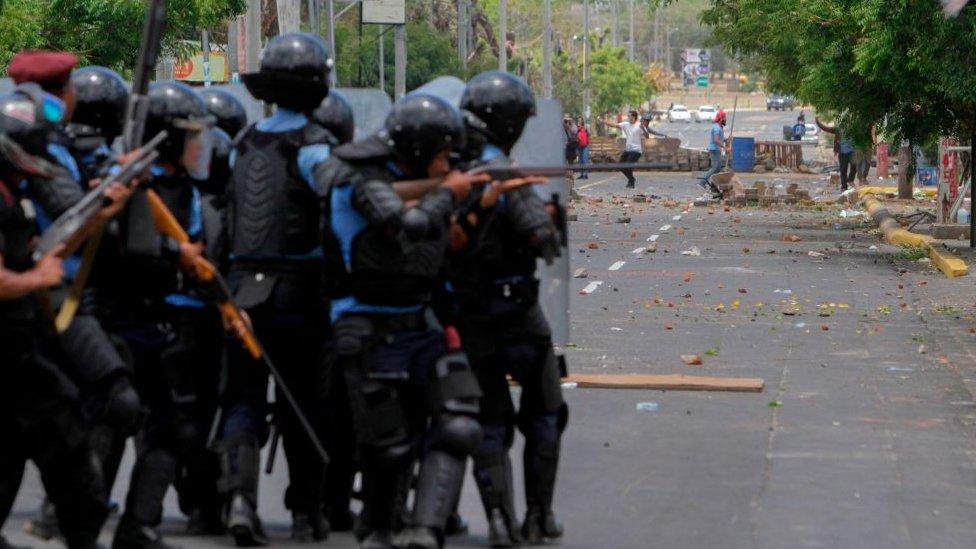 Policía en protestas de Nicaragua
