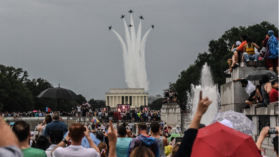 The US Navy Blue Angels flew over the Lincoln Memorial and past the Washington Monument