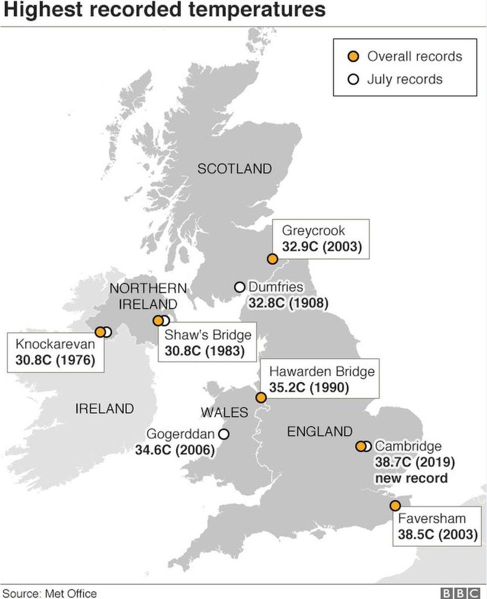 Map showing highest temperatures in Britain