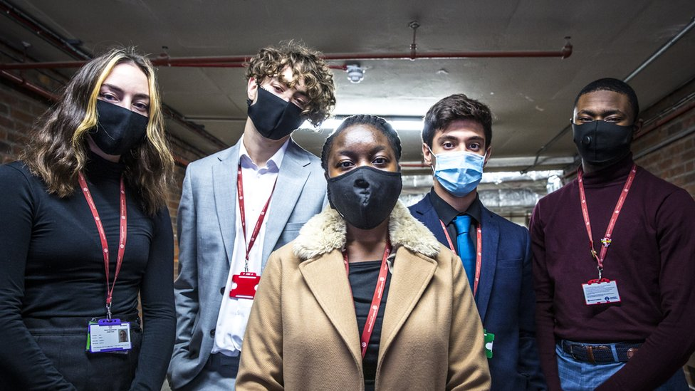 Group of students wearing face masks