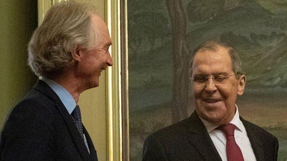 Rus Dışişleri Bakanı Sergel Lavrov (sağlda) ile BM Özel Temsilcisi Geir Pedersen, 22 Temmuz'da Şam'da bir araya geldi
