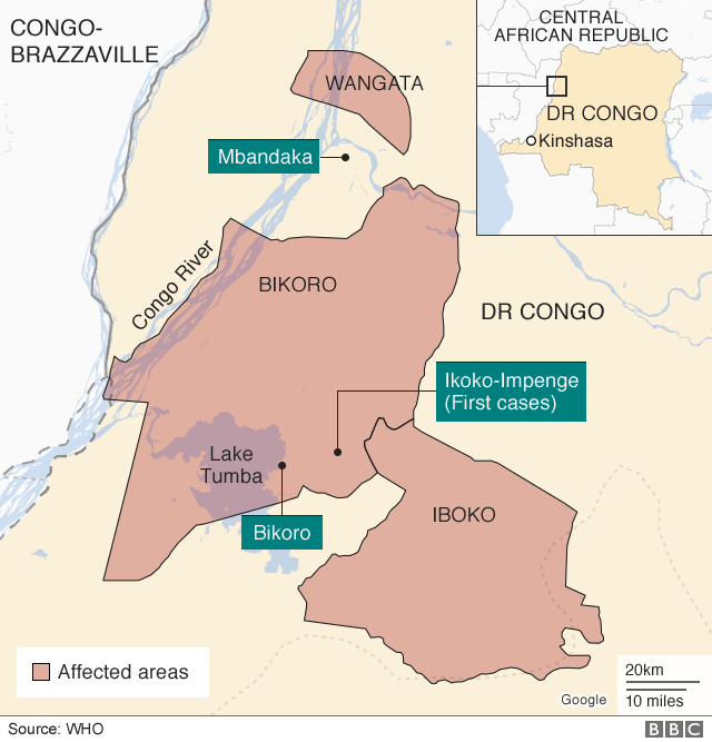 Map of Ebola outbreak in DR Congo