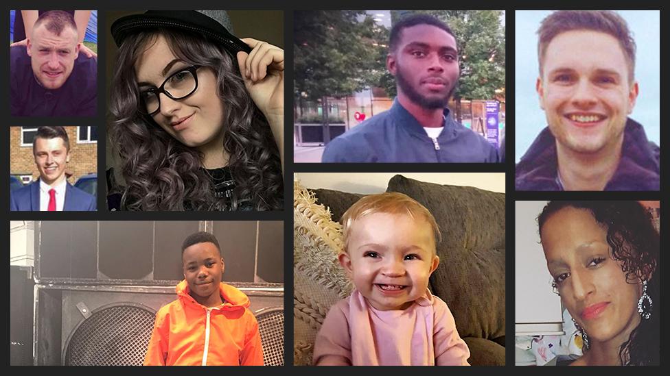Killed in 2019: Gavin Moon, Jodie Chesney, Che Morrison, Charlotte Huggins, Hollie Ashurst, Jayden Moodie, Bradley Matcham and Connor Brown.
