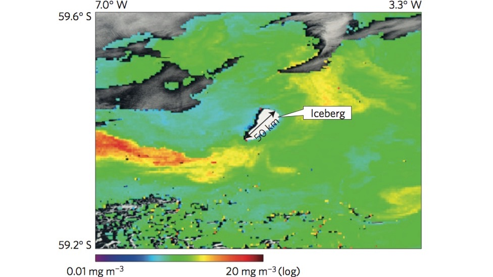 Figure showing a nutrient plume of a giant iceberg (Image: Nature)