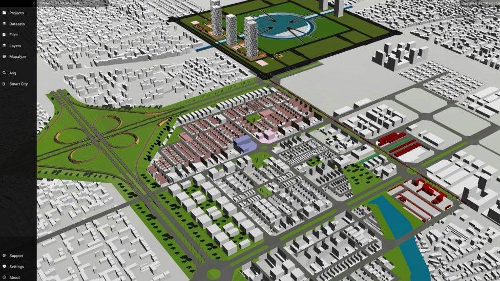 Mapa mostrando la ciudad