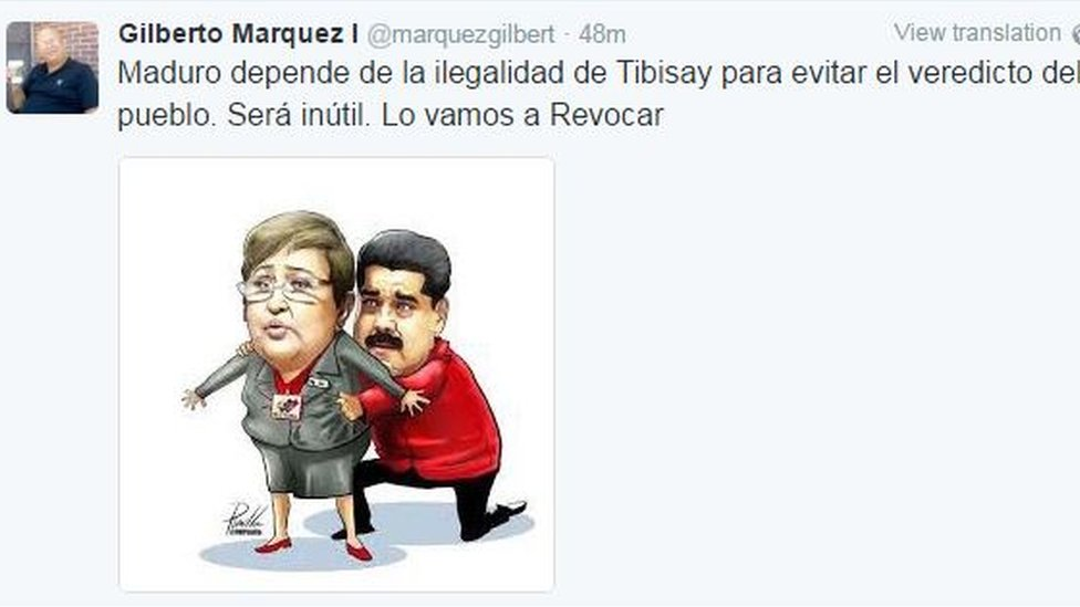 "Tweet reading ""Maduro relies on the illegality of Tibisay [Lucena] to sidestep the verdict of the people. It will be useless. We will recall him."" and showing Tibisay Lucena as a puppet being manhandles by Nicolas Maduro."