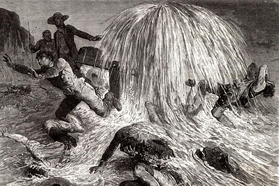 1859 yılında Pennsylvania'da Edwin Drake tarafından açılan ilk başarılı petrol kuyusunu tasvir eden bir çizim