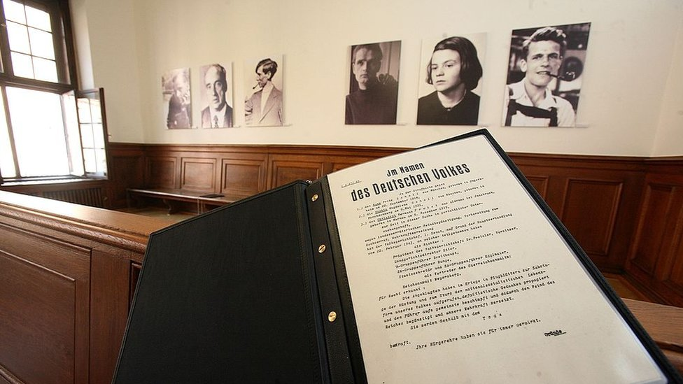 A copy of the sentences against the members of the White Rose shown in front of their photos