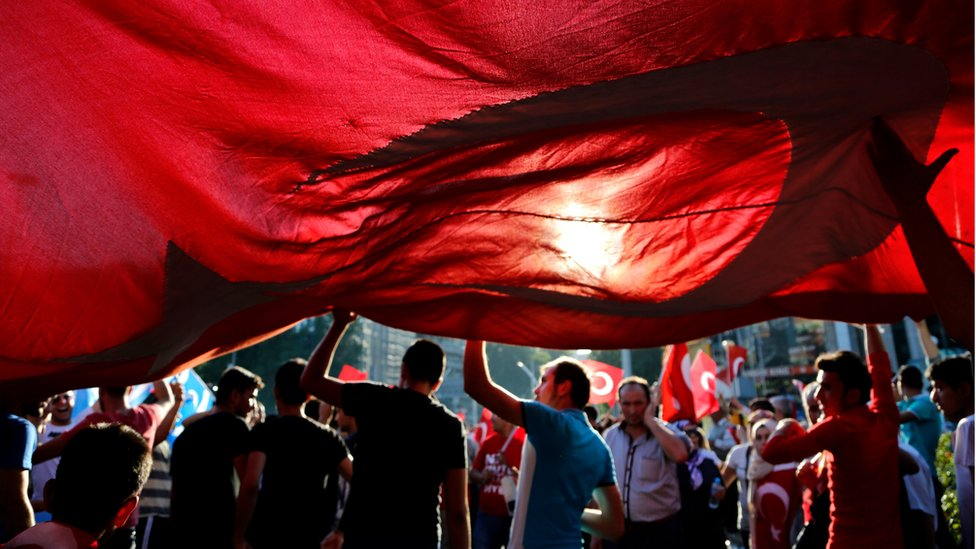 People in Ankara protest against the attempted coup