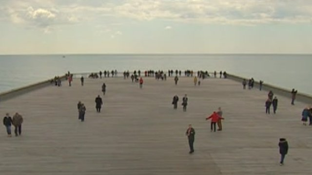 The first visitors to the rebuilt Hastings Pier