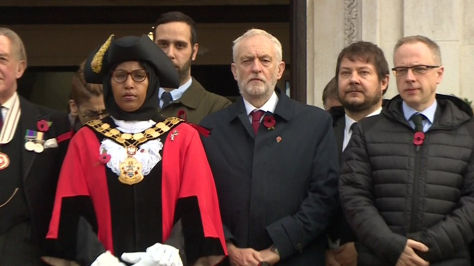 Jeremy Corbyn took part in the silence in his Islington constituency