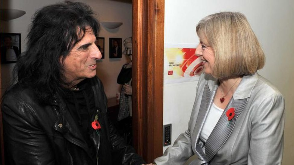 Theresa May meeting the rock star Alice Cooper in 2010