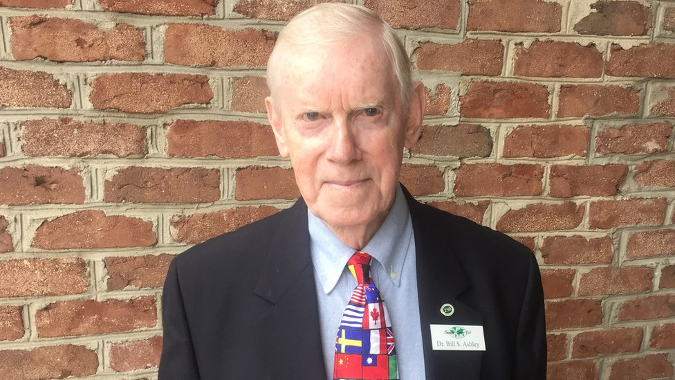 """Dr Bill Ashley - and his """"flags of the world"""" tie"""