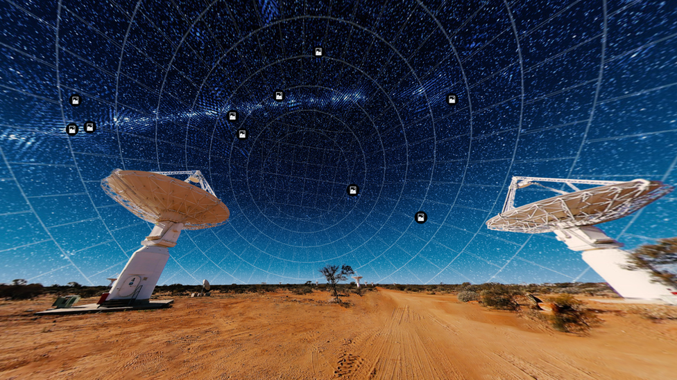 Some of the telescope antennas in the Western Australia desert