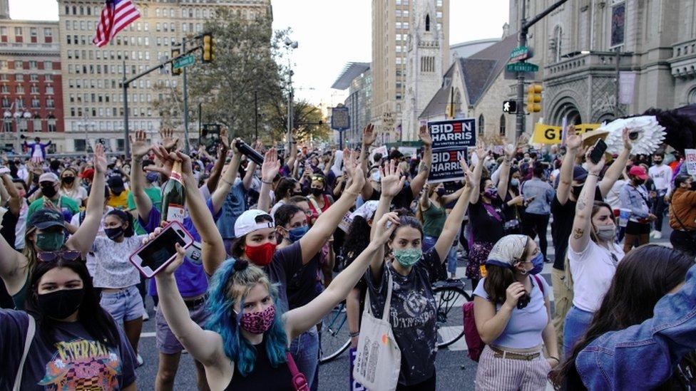 People gather as they celebrate in Philadelphia, Pennsylvania