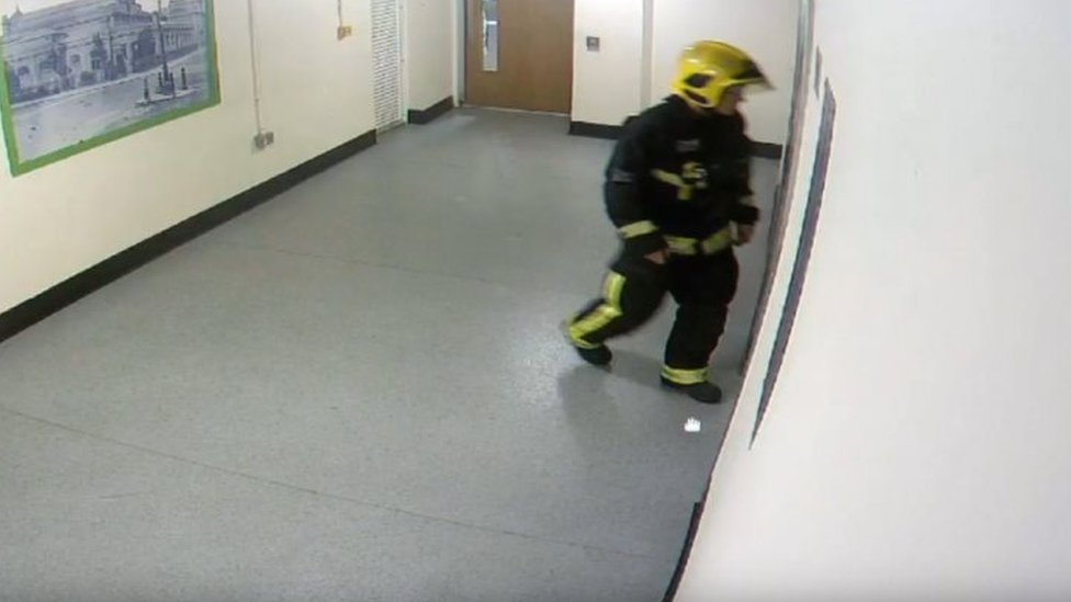 a CCTV image of David Badillo entering a lift in Grenfell Tower on the night of the fire as he attempted to reach Jessica Urbano Ramirez