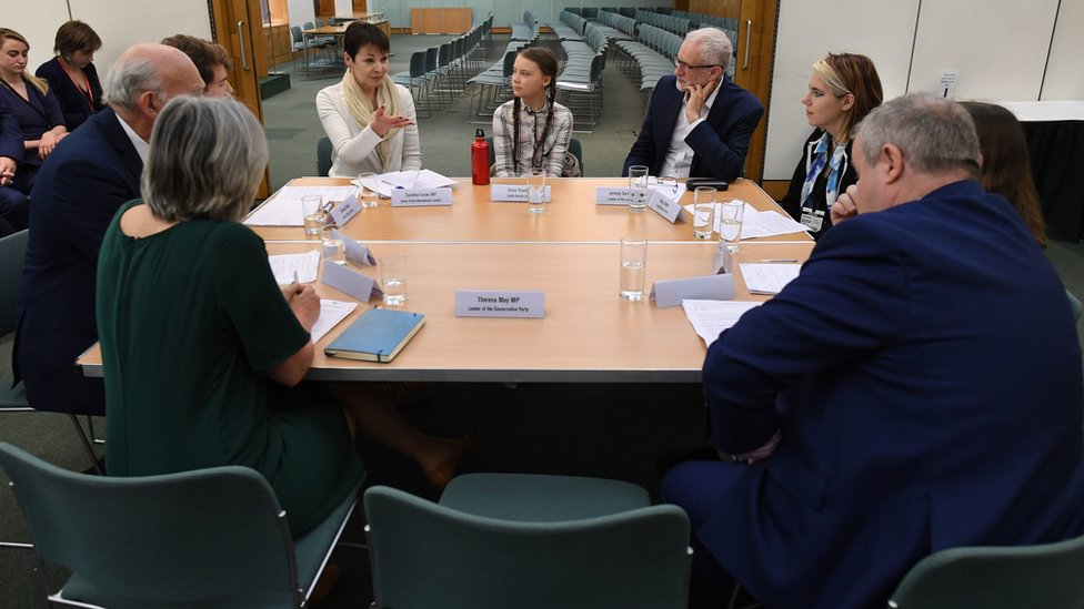 Swedish climate activist Greta Thunberg meets leaders of the UK political parties at the House of Commons in Westminster,