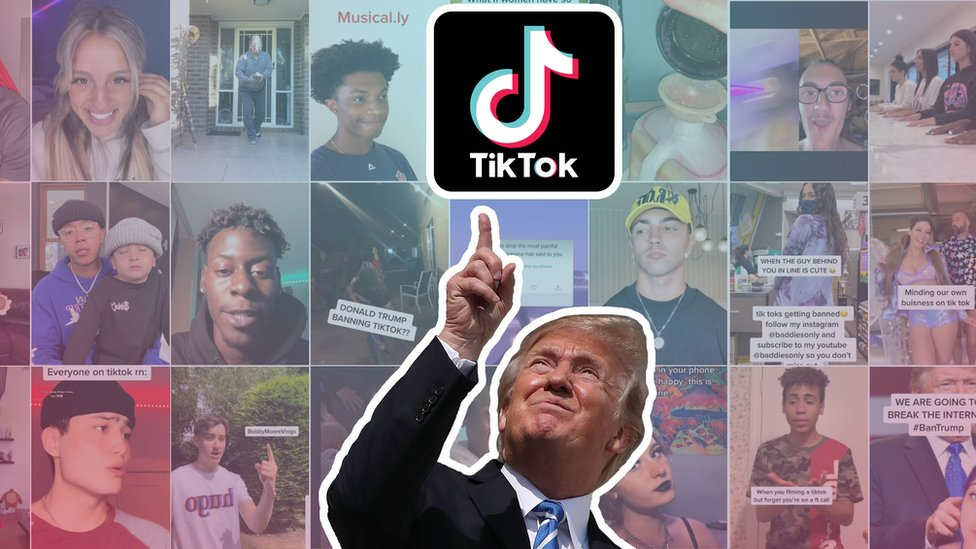 Donald Trump, outlined in white in a cutout, points to a TikTok logo against a backdrop of many TikTok video thumbnails from the #SaveTikTok tag