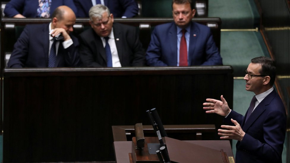 Poland's Prime Minister Mateusz Morawiecki speaks during debate about Holocaust bill at lower house of Parliament in Warsaw, Poland June 27, 2018
