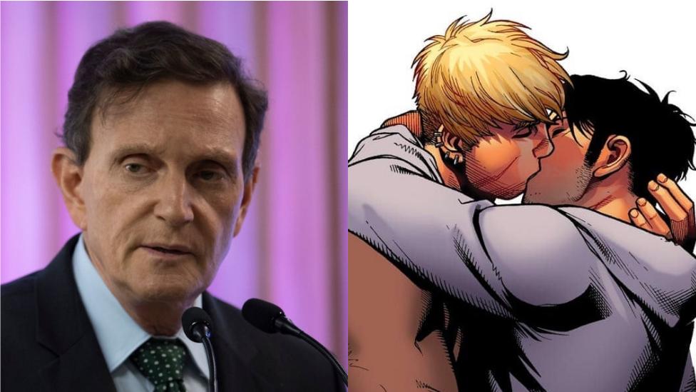Collage mostrando a Marcelo Crivella y una escena del cómic de Los Vengadores.