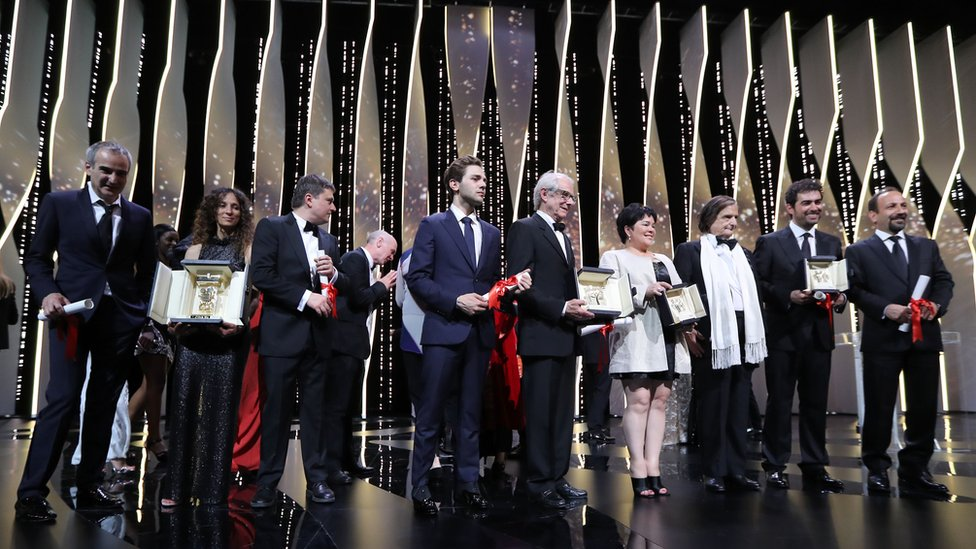 Cannes award winners on stage at the closing ceremony of the 69th staging of the film festival
