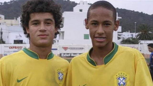 Brazil internationals Philippe Coutinho and Neymar