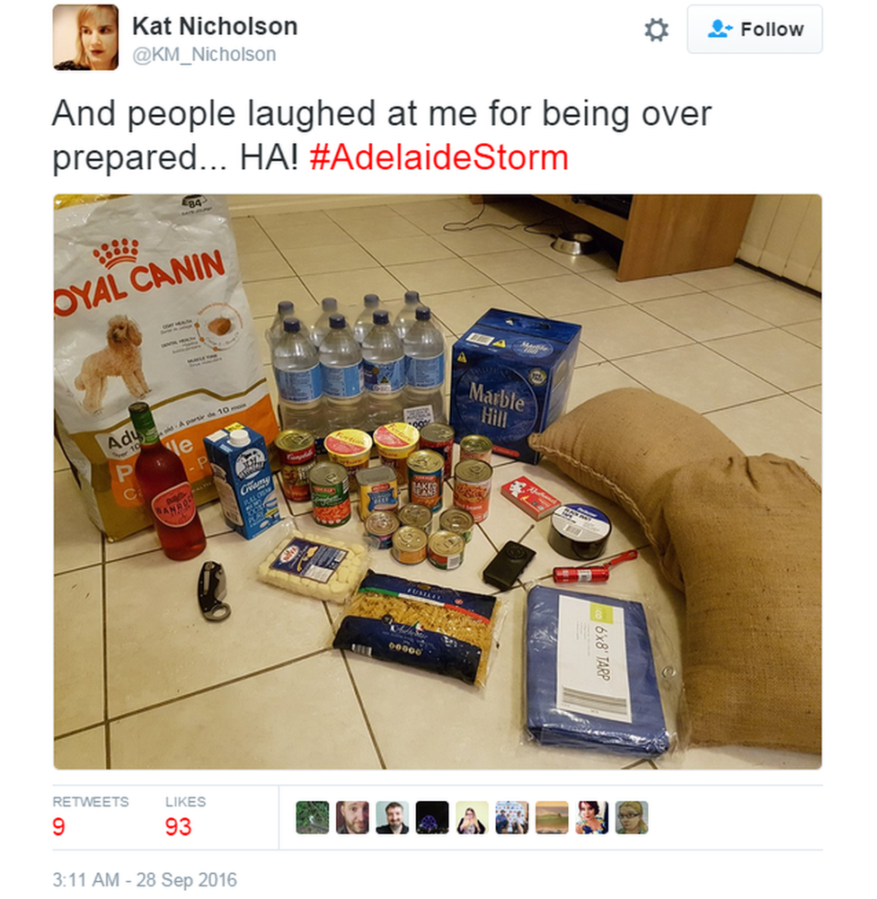 """Tweet: """"And people laughed at me for being over prepared...HA! #Adelaidestorm"""""""