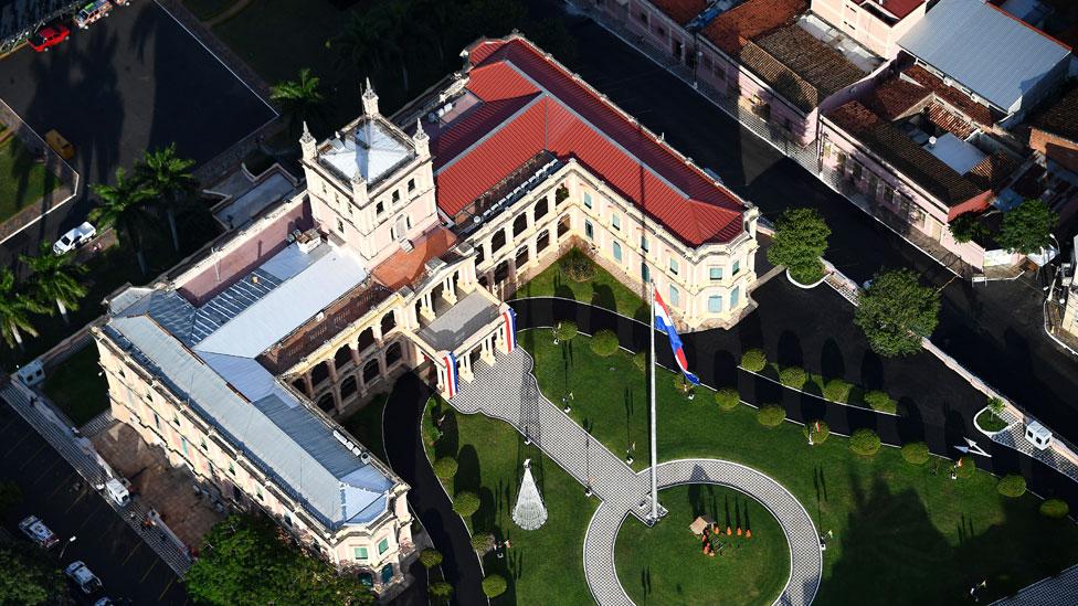 El Palacio presidencial en Asunción.