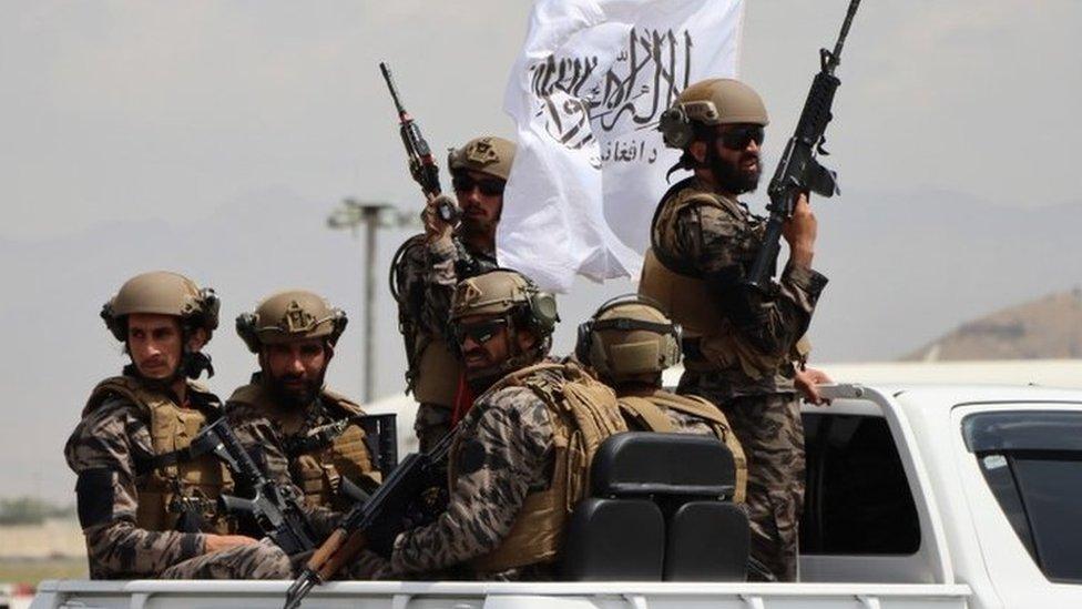 Taliban fighters at Kabul airport